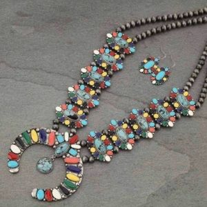 Multi Color Squash Blossom Necklace & Earrings.
